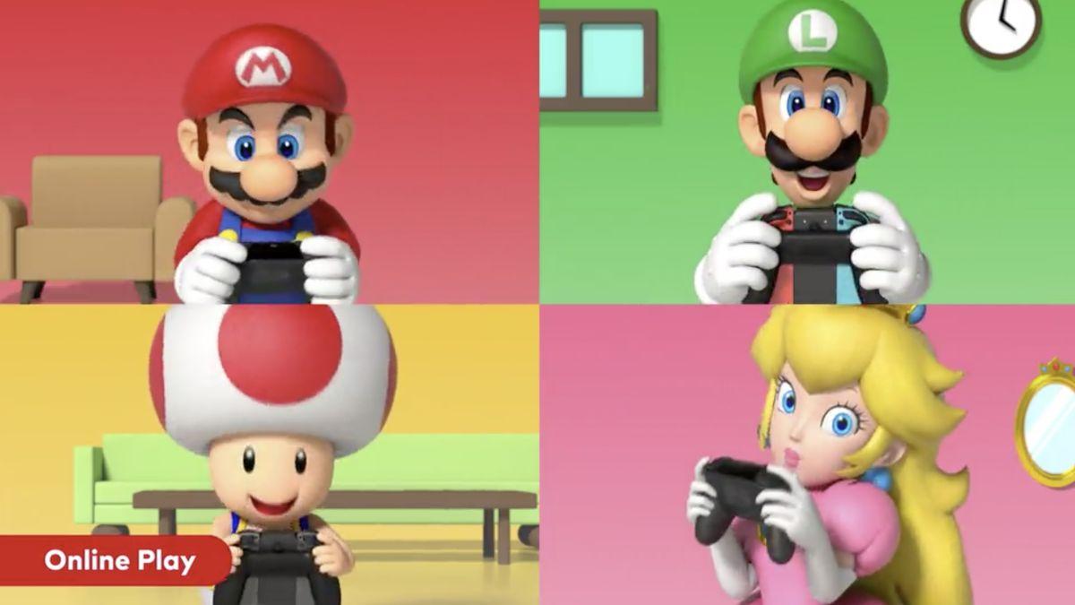 mario luigi toad y peach jugando Nintendo Switch Online
