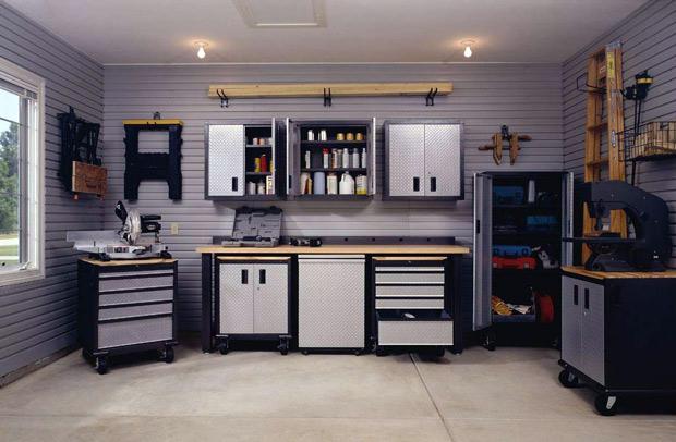 garage moderno con herramientas